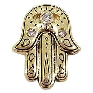 Mão de Fátima Dourada com Pedra