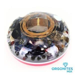 Orgonite Personalizado Meia Esfera Extra Grande com Hematitas Magnetizadas 21cm