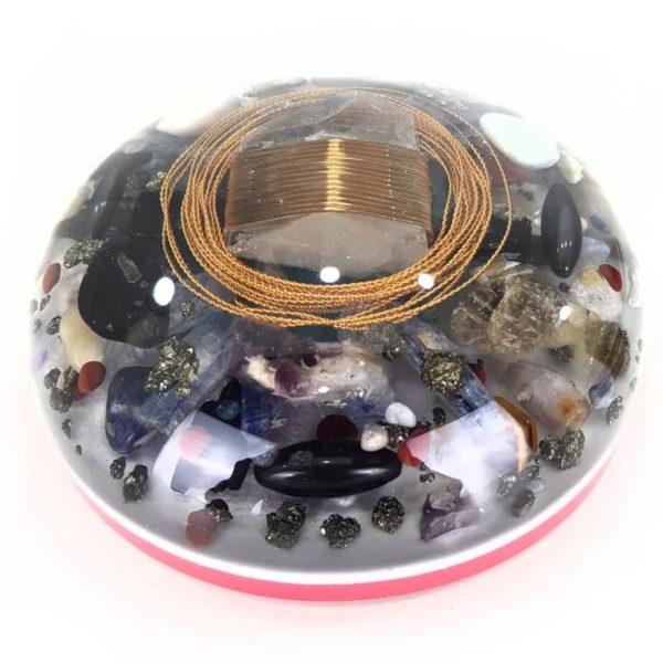 Orgonite Personalizado Meia Esfera Extra Grande com Hematita Magnetizada 21cm