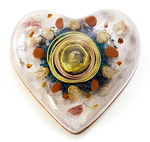 Orgonite Personalizado do Amor Coração Grande 14cm