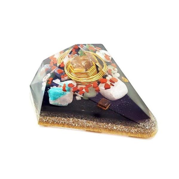 Orgonite Personalizado Diamante Extra Grande com Hematitas Magnetizadas 14cm