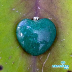 Pingente Coração De Quartzo Verde Com Pino Prata
