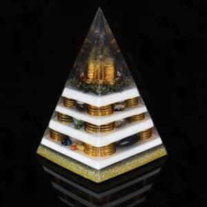 Orgonite Personalizado Pirâmide com Hematitas Magnetizadas 30 a 32cm