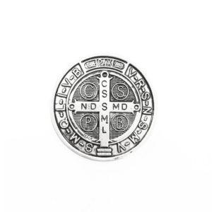 Pingente Medalha de São Bento Prateada