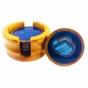 Porta Copos De Chapa De Ágata Azul