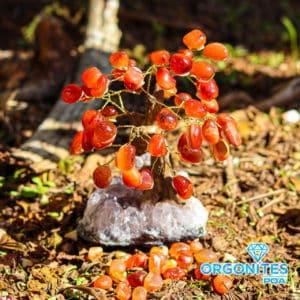 Árvore De Cornalina com Base de Ametista 15 Galhos