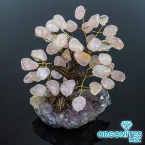 Árvore De Quartzo Rosa com Base de Ametista 15 Galhos