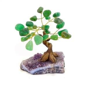 Árvore De Quartzo Verde com Base de Ametista 8 galhos