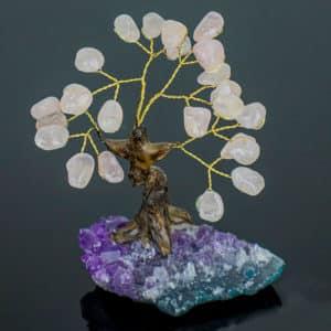 Árvore De Quartzo Rosa com Base de Ametista 8 galhos