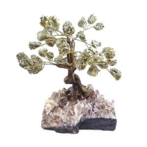 Árvore De Pirita com Base de Ametista 15 Galhos