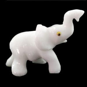 Elefante Médio de Calcita Branca