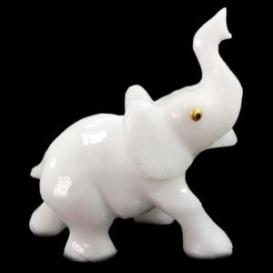 Elefante Grande de Calcita Branca