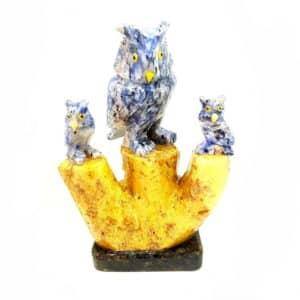 Coruja de Quartzo Azul Calcita Amarela e Dolomita Preta