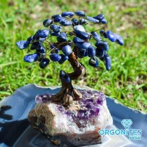 Árvore de Sodalita com Base de Ametista 18 Galhos