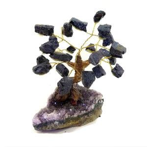 Árvore De Turmalina Negra com Base de Ametista 8 Galhos