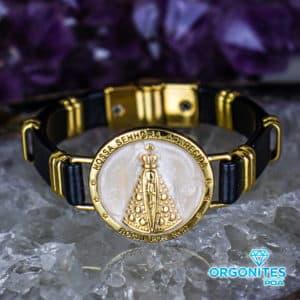 Pulseira Nossa Senhora Aparecida Dourado/Perolado