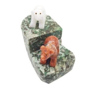 Urso de Calcita Branca Calcita Laranja e Serpentinita