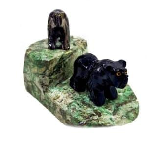 Urso de Dolomita Rajada Dolomita Preta e Serpentinita