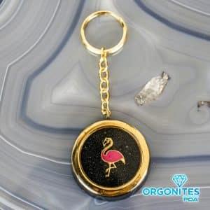 Chaveiro de Orgonite com Pingente Flamingo Pequeno Dourado