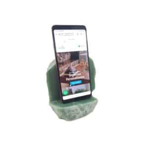 Porta Celular De Quartzo Verde Bruto