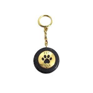 Pronta Entrega - Chaveiro de Orgonite com Pingente de Pet Love Dourado