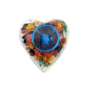 Pronta Entrega - Orgonite Coração Médio Azul 10cm
