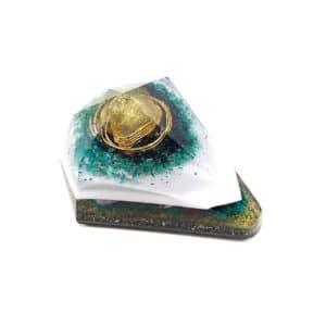 Pronta Entrega - Orgonite Diamante Extra Grande Dourado com Hematitas Magnetizadas 14cm