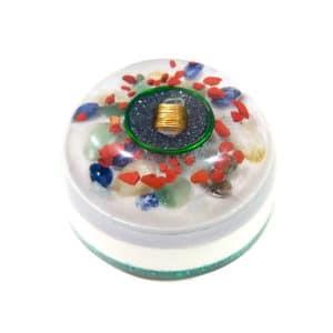 Pronta Entrega - Orgonite Meia Esfera Grande Dourada e Verde 14.5cm