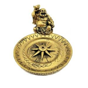 Porta Incenso Dourado de Resina com Buda Sorridente