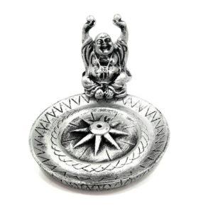 Porta Incenso Prata de Resina com Buda Sorridente