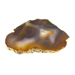 Chapa de Petiscos de Ágata com Banho Dourado