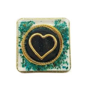 Pronta Entrega - Orgonite Coração Dourado