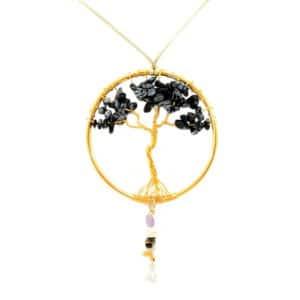Pendente Árvore de Obsidiana Floco de Neve com Ametista, Cristal de Quartzo, Olho de Tigre, Citrino e Turmalina Negra