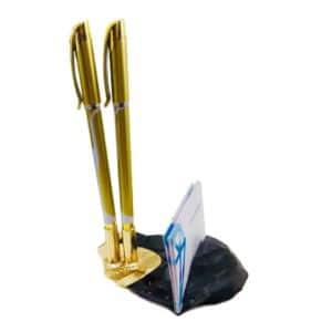 Porta Canetas Com 2 Compartimentos e Porta Cartão De Obsidiana Negra Com Banho Dourado
