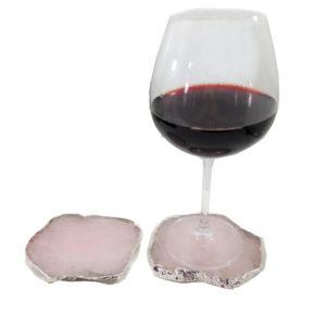 Porta Copo com 2 Peças De Quartzo Rosa com Banho Prata