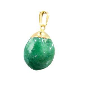 Pingente Quartzo Verde com Banho Dourado