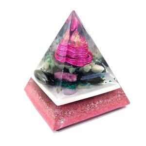 Pronta Entrega - Orgonite Pirâmide Rosa com Hematitas Magnetizadas 12cm