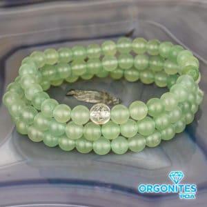 Pulseira de Quartzo Verde com Cristal de Quartzo