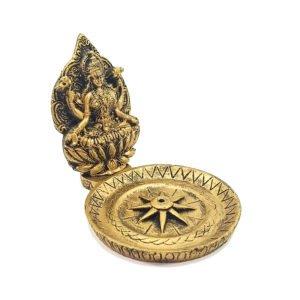 Porta Incenso Dourado de Resina com Deusa Hindu