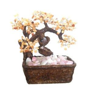 Árvore com Fonte de Pedras com Citrino, Quartzo Leitoso e Quartzo Rosa