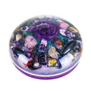 Orgonite Meia Esfera Extra Grande Roxa com Hematitas Magnetizadas 21cm