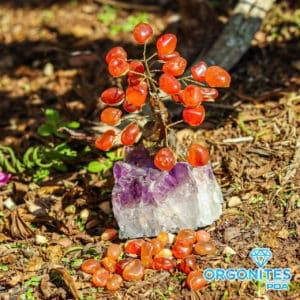 Árvore De Cornalina com Base de Ametista 8 Galhos