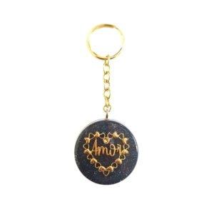 Pronta Entrega - Chaveiro com Pingente Coração do Amor Dourado