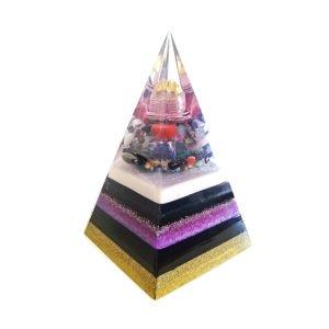 Pronta Entrega - Pirâmide Dourada/Violeta com Hematitas Magnetizadas 30cm