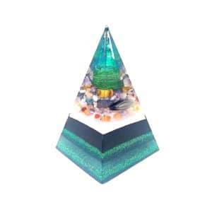 Pronta Entrega - Pirâmide Verde/Preto com Hematitas Magnetizadas 22cm