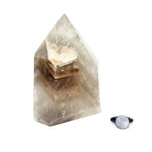 Ponta de Gerador de Cristal de Quartzo Fumê com Barraca