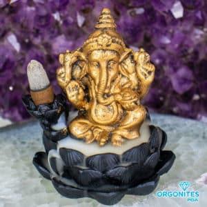 Incensário Dourado para Incenso Cone - Elefante Ganesha