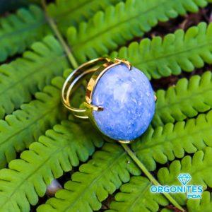 Anel Dourado de Quartzo Azul