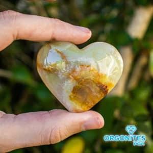 Coração de Ônix Amarelo e Sardônia - 5cm