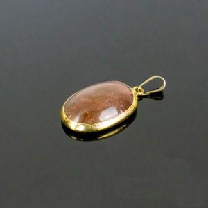 Pingente de Cristal de Quartzo com Óxido de Ferro com Banho Dourado